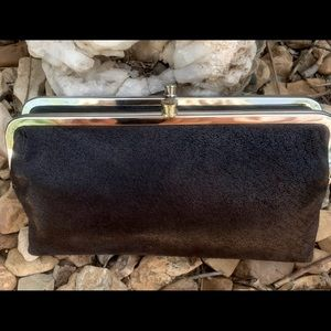 NEW HOBO Lauren Wallet 100% black suede leather